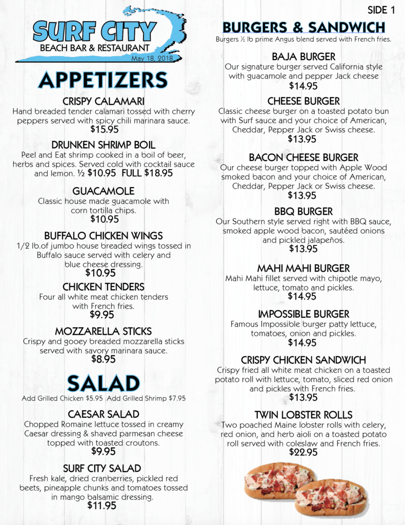 Surf City Menu Page 1
